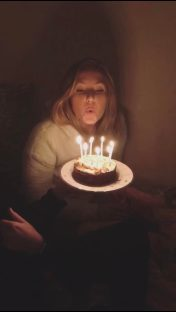 Here is a super blurry picture of me blowing out my candles following this gym session. Yes I did eat the cake!